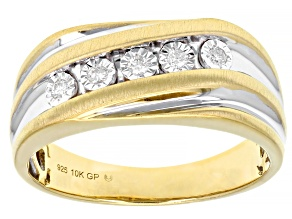 Pre-Owned White Diamond Rhodium And 10k Yellow Gold Over Sterling Silver Mens Band Ring 0.10ctw