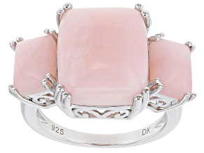 Pre-Owned Pink Opal Rhodium Over Sterling Silver 3-Stone Ring