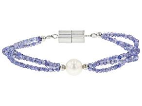 Pre-Owned Blue Tanzanite Rhodium Over Silver Bracelet