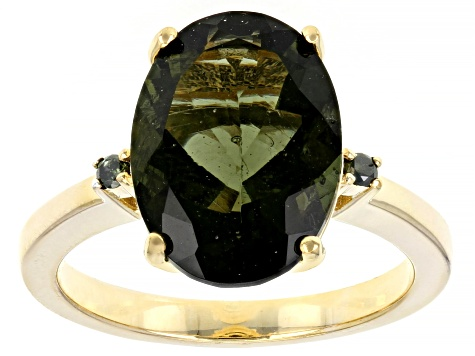 Pre-Owned Green Moldavite 18k Yellow Gold Over Silver Ring 3.87ctw