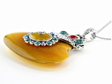 Pre-Owned Yellow Onyx Sterling Silver Enhancer With Chain