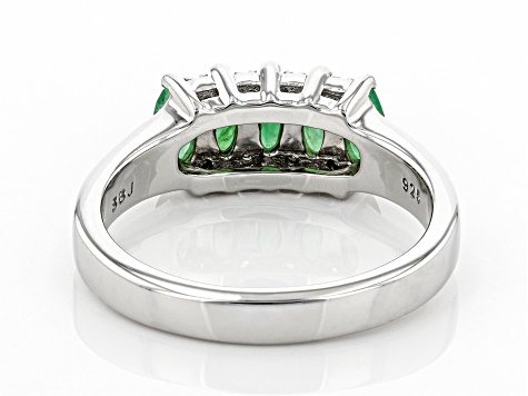 Pre-Owned Green Emerald Rhodium Over Silver Ring .98ctw