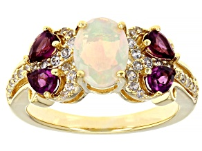 Pre-Owned Multi-Color Opal 18K Yellow Gold Over Sterling Silver Ring