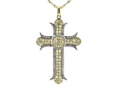 "Pre-Owned Natural Yellow & White Diamond 10k Yellow Gold Cross Pendant With 18"" Singapore Chain 1.03"