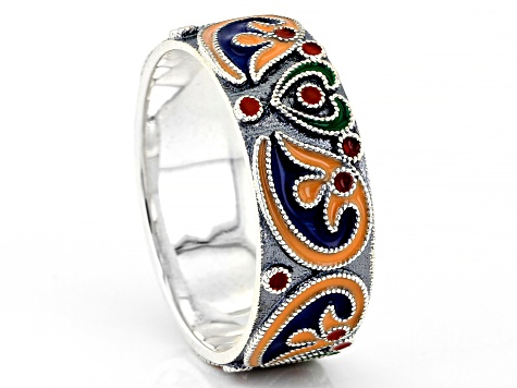 Pre-Owned Enamel Sterling Silver Band Ring