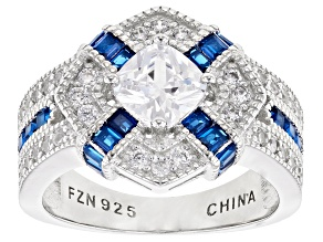 Pre-Owned Lab Created Blue Spinel And White Cubic Zirconia Rhodium Over Silver Ring 3.39ctw