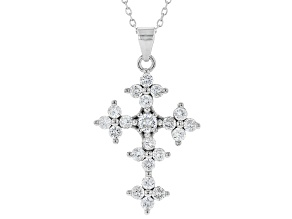 Pre-Owned White Cubic Zirconia Rhodium Over Sterling Silver Cross Pendant With Chain 1.85ctw