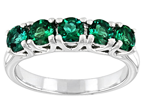 Pre-Owned Green Lab Created Emerald Rhodium Over Sterling Silver Ring 1.02ctw