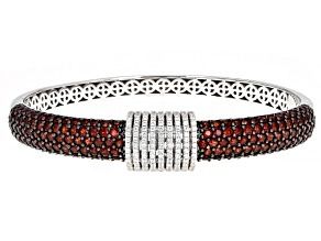 Pre-Owned Red Garnet Rhodium Over Sterling Silver Bracelet 10.50ctw