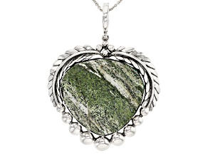 Pre-Owned Green Zebra Jasper Sterling Silver Enhancer with Chain
