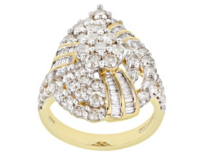 Pre-Owned White Diamond 10K Yellow Gold Cocktail Ring 2.00ctw