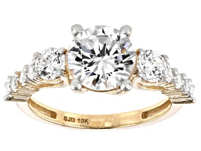 Pre-Owned White Cubic Zirconia 10K Yellow Gold Ring 4.96ctw (2.78ctw DEW)