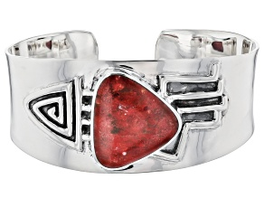Pre-Owned Coral Rhodium Over Silver Men's Cuff Bracelet