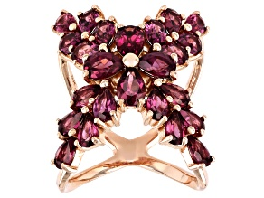 Pre-Owned Purple Rhodolite 18k Rose Gold Over Sterling Silver X Ring 6.32ctw