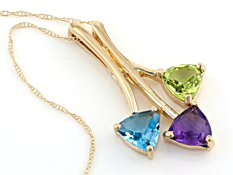 "Pre-Owned Amethyst, Peridot And Blue Topaz 10k Yellow Gold Pendant With 18"" Chain 1.85ctw"