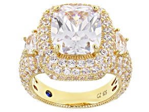 Pre-Owned White Cubic Zirconia 18k Yellow Gold Over Sterling Silver Ring 14.95ctw