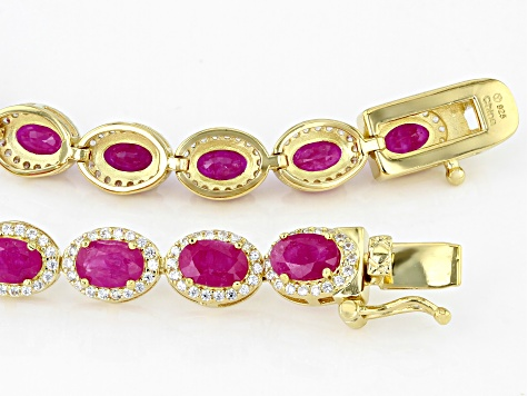 Pre-Owned Burma Ruby Rhodium Over Sterling Silver Tennis Bracelet 11.00ctw