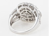 Pre-Owned White Cubic Zirconia Rhodium Over Sterling Silver Ring 4.10ctw