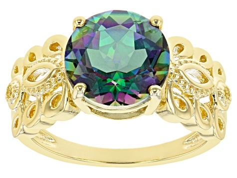 Pre-Owned Multi-Color Quartz 18k Yellow Gold Over Silver Ring 2.98ct