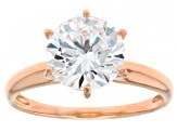 Pre-Owned White Cubic Zirconia 18K Rose Gold Over Sterling Silver Ring 4.18ctw