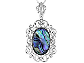 Pre-Owned Abalone Shell Rhodium Over Sterling Silver Enhancer With Chain 30x20mm