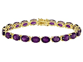 Pre-Owned Purple Amethyst 18k Yellow Gold Over Silver Bracelet 22.10ctw