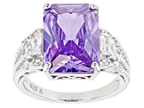Pre-Owned Purple And White Cubic Zirconia Rhodium Over Sterling Silver Ring 12.49ctw