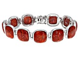 Pre-Owned Red Coral Rhodium Over Sterling Silver Bracelet