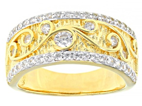 Pre-Owned White Cubic Zirconia Rhodium And 18K Yellow Gold Over Sterling Silver Band Ring 1.26ctw