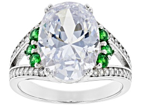 Pre-Owned Green And White Cubic Zirconia Rhodium Over Sterling Silver Ring 10.45ctw (6.53ctw DEW)