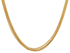 Pre-Owned Moda Al Massimo™ 18K Yellow Gold Over Bronze Multi-Row Curb Link Necklace 38 Inches