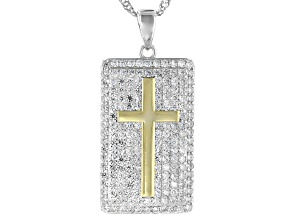Pre-Owned White Cubic Zirconia Rhodium Over Sterling Silver Cross Pendant With Chain 1.96ctw