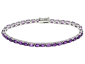 Pre-Owned Purple African Amethyst Sterling Silver Tennis Bracelet 6.30ctw