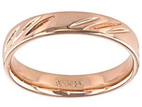 Pre-Owned Moda Al Massimo® 18k Rose Gold Over Bronze Comfort Fit 4MM Diamond Cut Band Ring