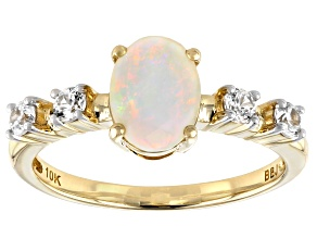 Pre-Owned White Opal 10k Yellow Gold Ring .34ctw