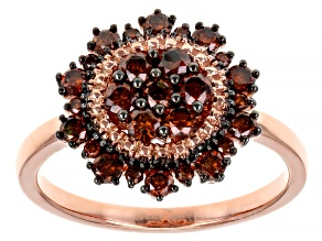 Pre-Owned Red Diamond 14K Rose Gold Over Sterling Silver Cluster Ring 0.80ctw