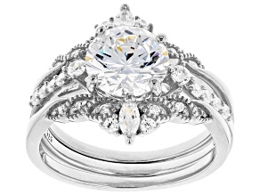 Pre-Owned White Cubic Zirconia Rhodium Over Sterling Silver Ring With Bands 4.20ctw