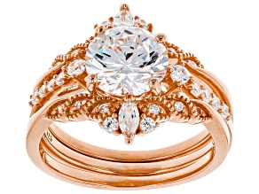 Pre-Owned White Cubic Zirconia 18K Rose Gold Over Sterling Silver Ring With Bands 4.20ctw