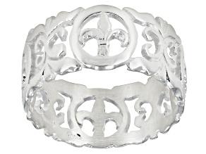 Pre-Owned Fleur De Lis Florentine Lily Ring Sterling Silver