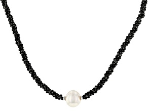 Pre-Owned Black Spinel Rhodium Over Sterling Silver Necklace Approximately 50.00ctw