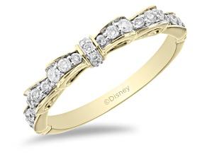 Pre-Owned Enchanted Disney Snow White Bow Ring White Diamond 14k Yellow Gold 0.25ctw