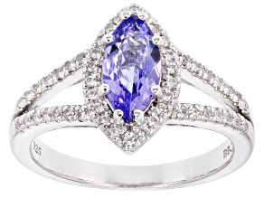 Pre-Owned Blue Tanzanite Rhodium Over Sterling Silver Ring 1.26ctw