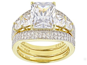 Pre-Owned White Cubic Zirconia 18K Yellow Gold Over Sterling Silver Ring With 2 Bands 9.07tw