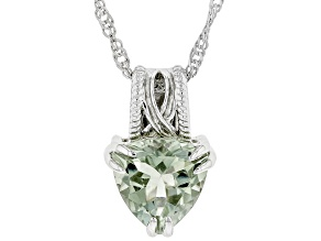 Pre-Owned Green Amethyst Rhodium Over Sterling Silver Pendant With Singapore Chain 2.55ct
