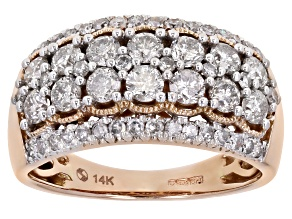 Pre-Owned White Diamond 14K Rose Gold Wide Band Ring 1.50ctw