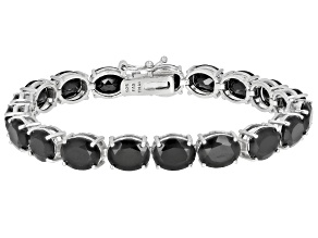 Pre-Owned Black Spinel Rhodium Over Silver Bracelet 28.5ctw