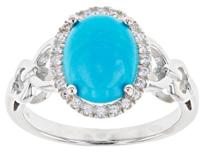 Pre-Owned Sleeping Beauty Turquoise Silver Ring 0.6ctw