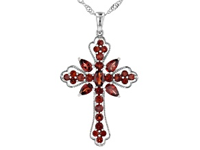 Pre-Owned Red Garnet Rhodium Over Sterling Silver Cross Pendant With Chain 2.47ctw