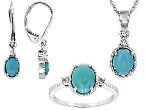 Pre-Owned Blue Turquoise Rhodium Over Sterling Silver Jewelry Set