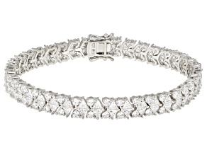 Pre-Owned White Cubic Zirconia Rhodium Over Sterling Silver Bracelet 28.00CTW